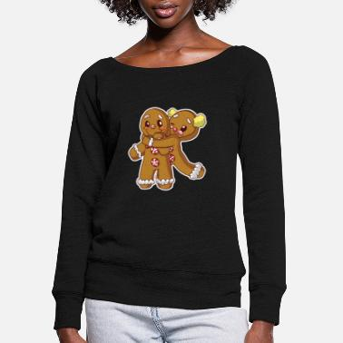 Couple Gingerbread Christmas Blushing Cookie Couple - Women's Wide-Neck Sweatshirt