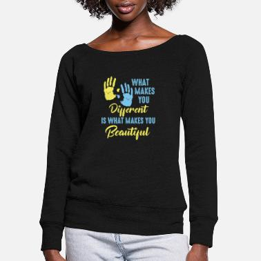 Down Down Syndrome - Women's Wide-Neck Sweatshirt