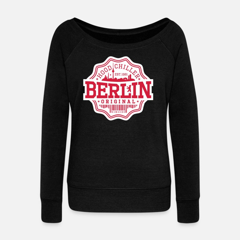 Friedrichshain Hoodies & Sweatshirts - Original Seal Hood Chiller Berlin - Women's Wide-Neck Sweatshirt black
