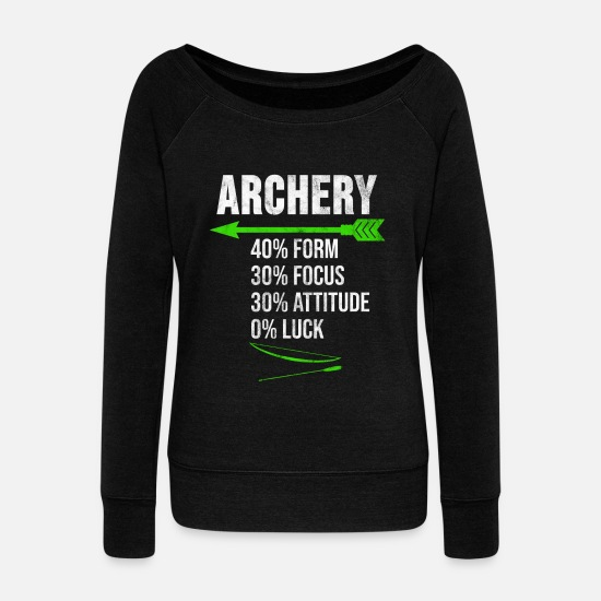 Archer Hoodies & Sweatshirts - Archery Shirt Archer Bow and Arrow Gift - Women's Wide-Neck Sweatshirt black