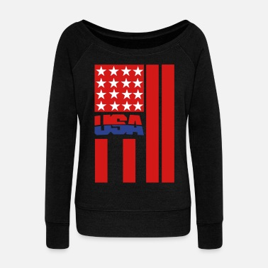 Usa Flag USA FLAG - Women's Wide-Neck Sweatshirt