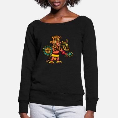 Aztec aztec warrior - Women's Wide-Neck Sweatshirt