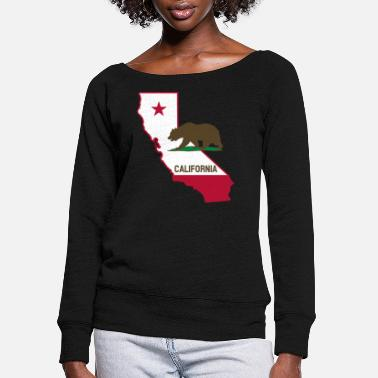 State CALIFORNIA STATE WITH STATE BEAR - Women's Wide-Neck Sweatshirt