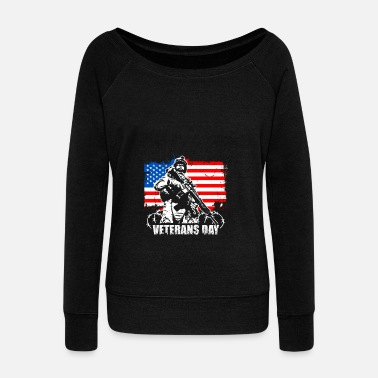 Veterans VETERANS DAY KNEEL FOR THE CROSS veteran Day Shirt - Women's Wide-Neck Sweatshirt