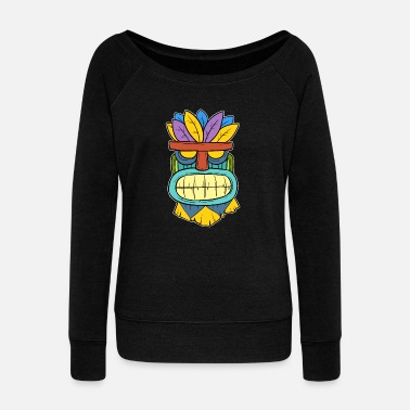 Polynesia Mokupuni Colorful Grimly Hawaiian Tiki Masc Gift - Women's Wideneck Sweatshirt
