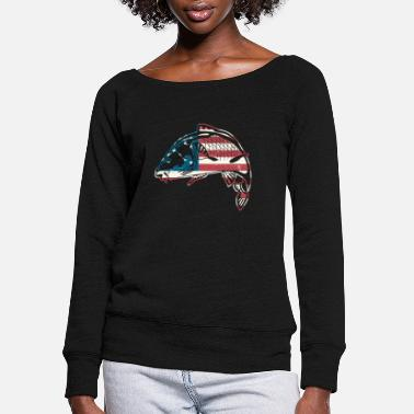 Carp Carp American Flag Shirt - Women's Wide-Neck Sweatshirt