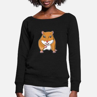 Toddler hamster pet small adorable gift idea - Women's Wide-Neck Sweatshirt