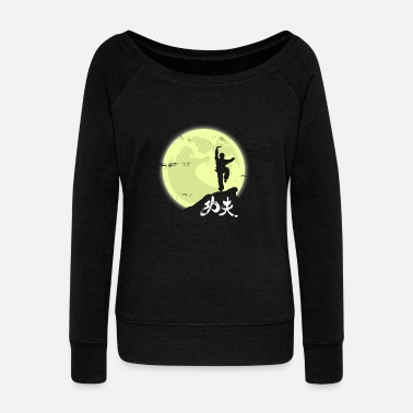 Kung-fu Kung Fu Moon Gift Christmas Fight Kids Sport - Women's Wideneck Sweatshirt