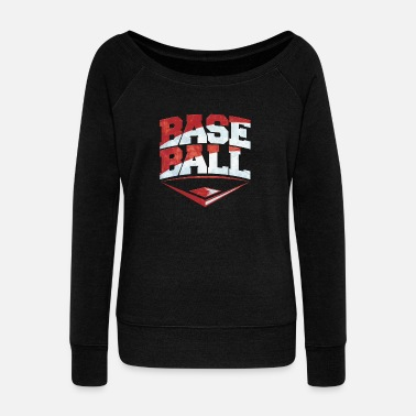 Baseball Bat Baseball Bat and Bat Sports - Women's Wideneck Sweatshirt