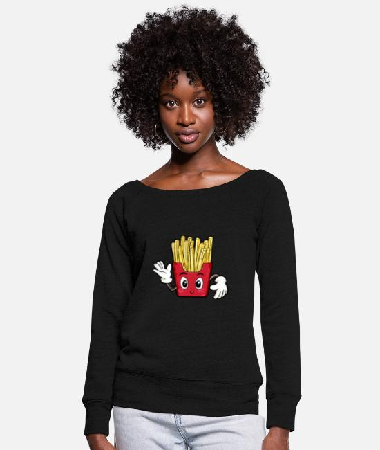 Childhood Hoodies & Sweatshirts - French fries food gourmet gift - Women's Wide-Neck Sweatshirt black