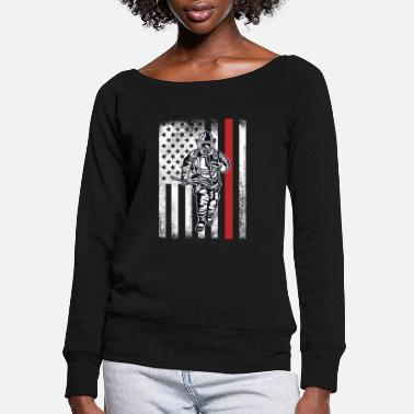 Fighter Firefighter Thin Red Line USA Flag Design - Women's Wide-Neck Sweatshirt