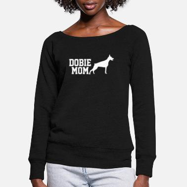 Doberman Doberman Dog Dobie Mom - Women's Wide-Neck Sweatshirt
