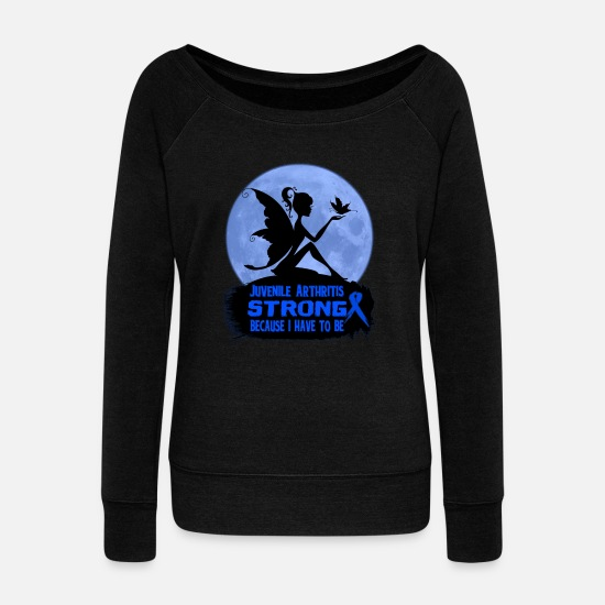 Strong Hoodies & Sweatshirts - Juvenile Arthritis Awareness - Women's Wide-Neck Sweatshirt black
