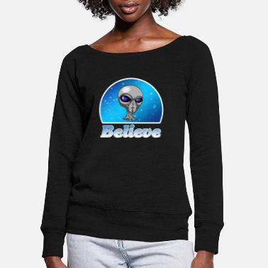 Scifi Believe in Aliens, Outer Space, Gray One, Gift - Women's Wide-Neck Sweatshirt
