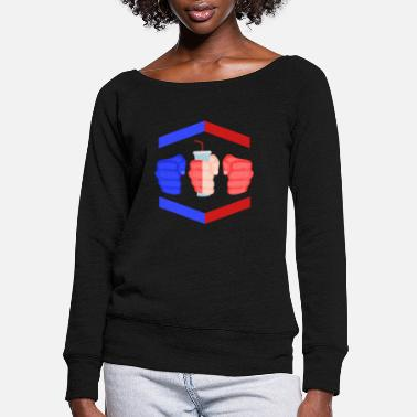 Gamebred Sticker 3 Piece And A Soda Cuban Gamebred MMA Fighter Fun - Women's Wide-Neck Sweatshirt