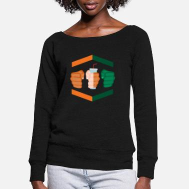Gamebred Sticker 3 Piece And A Soda Gamebred MMA Fighter Miami Fun - Women's Wide-Neck Sweatshirt