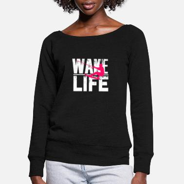 Rope Cool Wake Surfing Gift Print Boat Lake - Women's Wide-Neck Sweatshirt