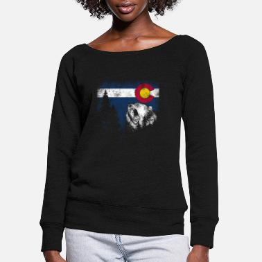 Chicago Colorado State Flag Bear Colorado Day Mountains - Women's Wide-Neck Sweatshirt