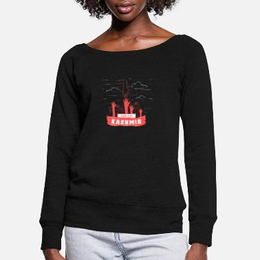Conflict Stand With Kashmir To Stop This Massacre - Stop - Women's Wide-Neck Sweatshirt