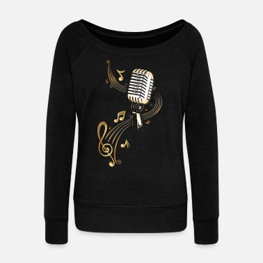 Music Note Retro microphone with music notes and clef. - Women's Wideneck Sweatshirt