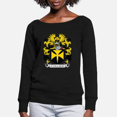 Crest Collier Family Crest - Women's Wide-Neck Sweatshirt