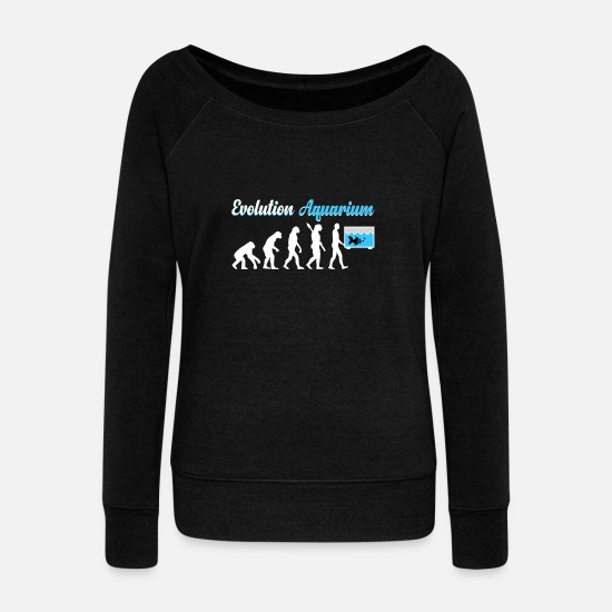Gift Idea Hoodies & Sweatshirts - Aquarium Evolution - Women's Wide-Neck Sweatshirt black