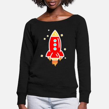 Rocketstart Colored cartoon rocket with stars - Women's Wide-Neck Sweatshirt