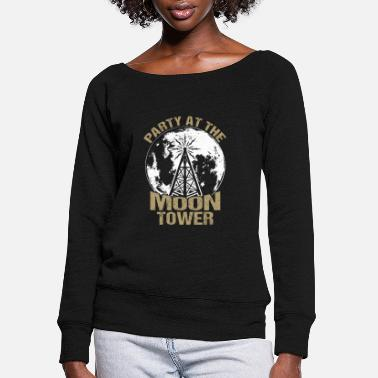 Confused Dazed and Confused - Party at the moon tower - Women's Wide-Neck Sweatshirt