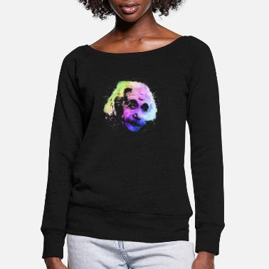 Rainbow Einstein Watercolor - Women's Wide-Neck Sweatshirt