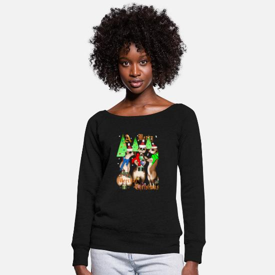 Christmas Hoodies & Sweatshirts - Merry Meerkat Christmas - Women's Wide-Neck Sweatshirt black