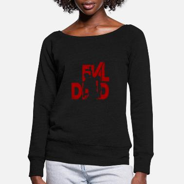Evil Dead Deer Cute Funny Cartoon Goth Spooky Hum Evil Dead fan bloody T-shirt - Women's Wide-Neck Sweatshirt