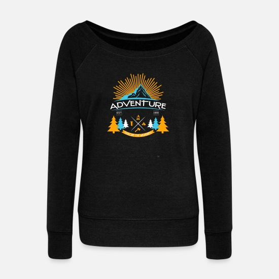 Motorcycle Hoodies & Sweatshirts - Adventure - Adventure - Women's Wide-Neck Sweatshirt black