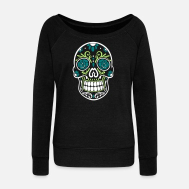 Day Of The Dead Traditional Mexican sugar skull, day of the dead. - Women's Wideneck Sweatshirt