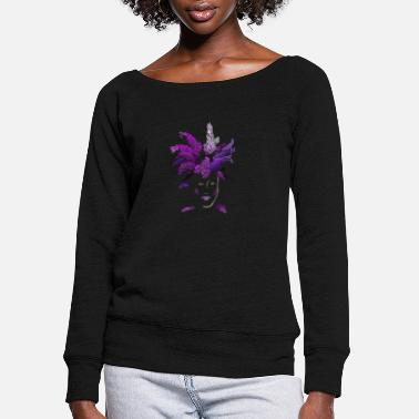 Lilac lilac face - Women's Wide-Neck Sweatshirt