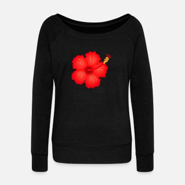 Blume hibiscus exotic flower bloom plant glora gift - Women's Wideneck Sweatshirt