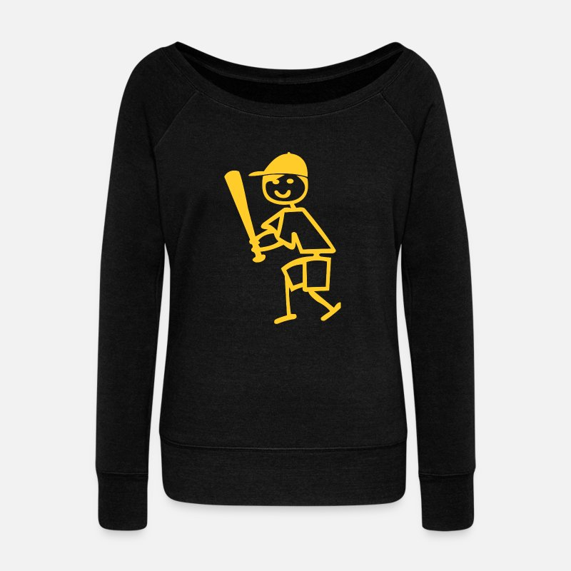 c04558ecb2 playing baseball ball Women s Wide-Neck Sweatshirt