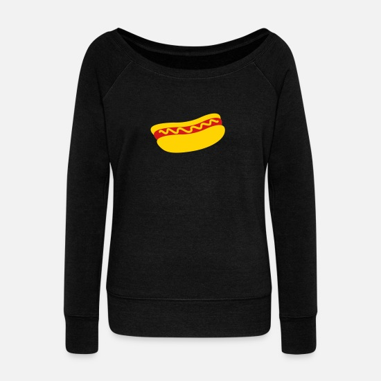 Hot Dog Hoodies & Sweatshirts - hotdog with mustard - Women's Wide-Neck Sweatshirt black