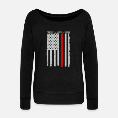Protect Serve Honor Logo - thin red line protect serve and honor ame - Women's Wideneck Sweatshirt