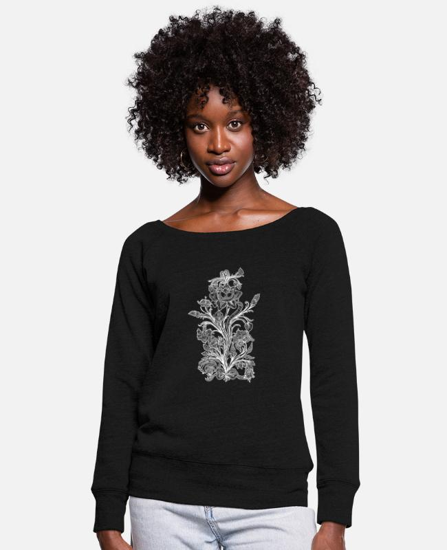 Artsy Hoodies & Sweatshirts - Alpine Bouquet (White) - Women's Wide-Neck Sweatshirt black