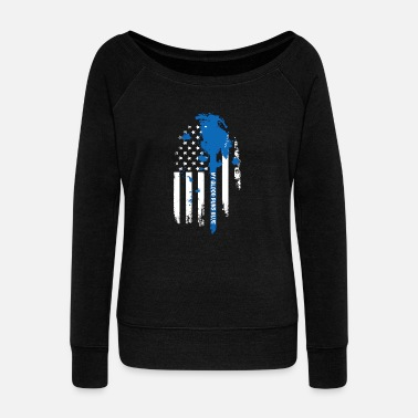 Line Thin Blue Line – My blood runs blue - Women's Wideneck Sweatshirt