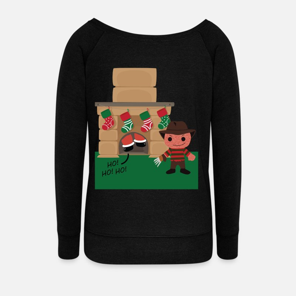 Freddy Krueger Celebrates Christmas Womens Wide Neck Sweatshirt