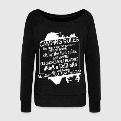 Camping Rules Visit With Friends T Shirt - Women's Wideneck Sweatshirt