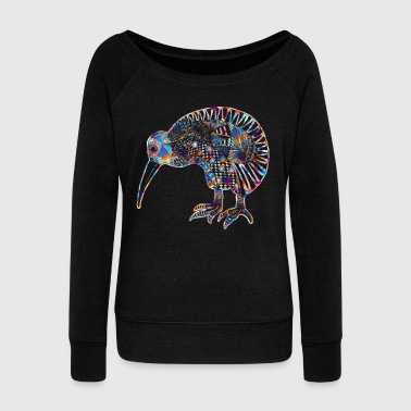 Kiwi Bird Tee Shirt - Women's Wideneck Sweatshirt
