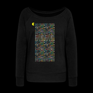 Pac-man eats drugs pills - Women's Wideneck Sweatshirt