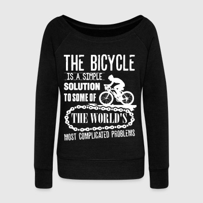 The Bicycle Is A Simple Solution T Shirt - Women's Wideneck Sweatshirt
