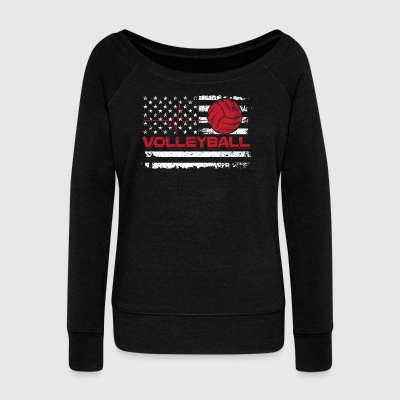 Volleyball/American Flag/Volley Ball/Player/Sports - Women's Wideneck Sweatshirt