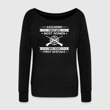 Shooting Range/Shooting Sport/Girls/Women/Rifle - Women's Wideneck Sweatshirt