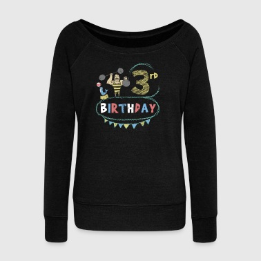 Circus Theme Strongman 3rd Birthday - Women's Wideneck Sweatshirt