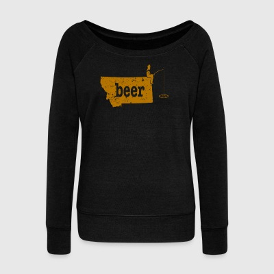 Fishing Beer Ice Fishing Humor MT Bass Fishing Gear Gift - Women's Wideneck Sweatshirt