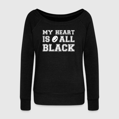 New Zealand My Heart Is All Black - Women's Wideneck Sweatshirt